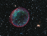 A supernova in the Large Magellanic Cloud, which lies about 160,000 light years from Earth.