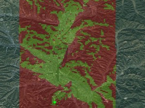 Viewshed analysis of the Chengde valley, Hebei province, P.R. China. Map courtesy of Stephen H Whiteman