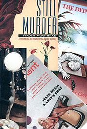 Covers from the books: 'Cocaine Blues (Kerry Greenwood, 2012), 'Death Wears a Lady's Smile' (Don Haring), 'The Dying Trade' (Peter Corris, 1980), 'Still Murder' (Finola Moorhead, 1991),' Grim Pickings' (Jennifer Rowe, 1987)