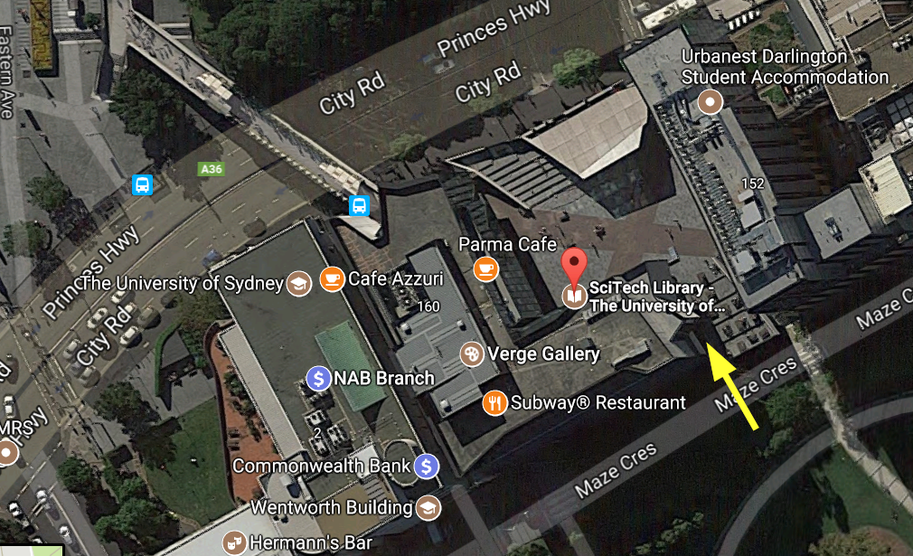 This Satellite map shows the emergency entry of SciTech Library.