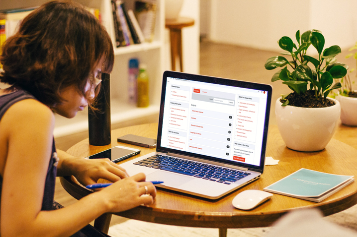 student studying online