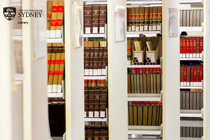 library shelves and books
