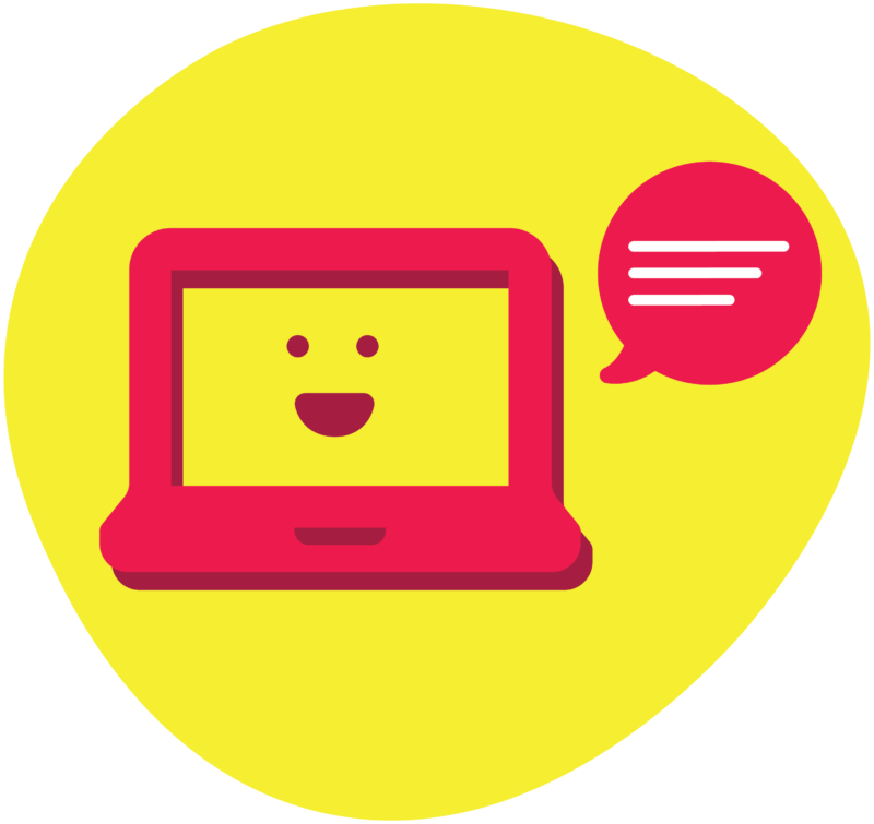 Laptop with smiling face and speech bubble