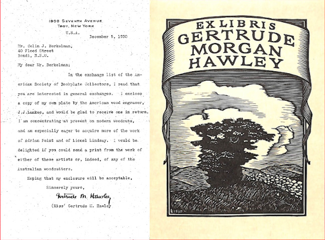 Letter from Gertrude Morgan Hawley to Colin Berckelman describing her interest in modern woodcuts and stating that she has enclosed a copy of her own bookplate design and is seeking Australian bookplates in return.
