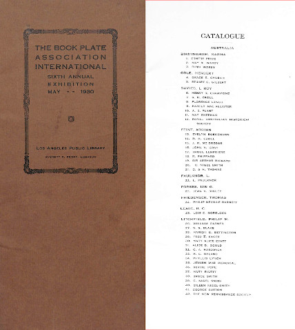 Exhibition catalogue for the Bookplate Association International's sixth annual exhibition, 1930, containing lists of bookplate designers organised by country and a list of prize-winning designs.