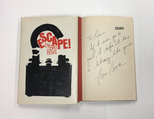 Front cover and inscription of Escapre by Ben Bova