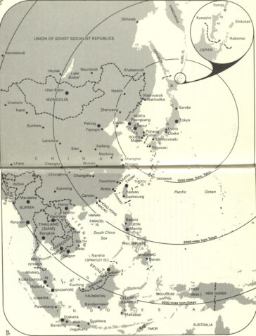 A black-and-white map of East and South-East Asia taken from John Halliday and Gavan McCormack's book, Japanese Imperialism Today: 'Co-Prosperity in Greater East Asia', that denotes radius distances from Tokyo, Japan.