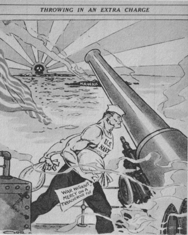 A large, muscular man wearing a sleeveless top marked 'U.S. Navy' by a canon on a navy ship. The man is carrying two sacks in his hands, one dangling a tag that reads 'war without mercy on a treacherous foe'. The canon is aiming at the Japanese archipelago beyond Hawaii, under the imperial rising sun flag marked with a black skull.