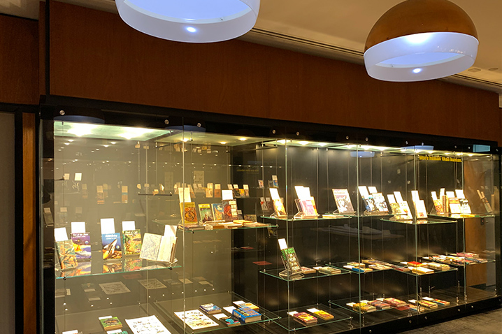 Frontiers of Science Fiction display in glass cabinets