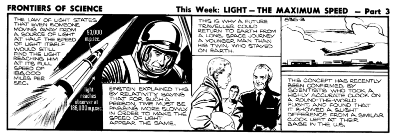 "Frontiers of Science comic strip 636 part 3 includes a picture of an astronaut greeting an older man, with onlooker. The caption says: ""This is why a future traveller could return to Earth from a long space journey a younger man than his twin, who stayed on earth."""