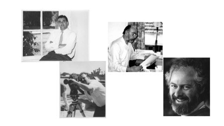 Four black-and-white photographs, each portraying one of the four creators of the Frontiers of Science.