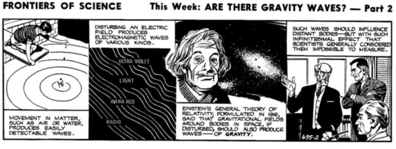"Comic strip Frontiers of Science 435 showing a boy observing ripples in a pond and the face of Albert Einstein, A caption reads ""Einstein's general theory of relativity, formulated in 1916, said that gravitational fields around bodies in space, if disturbed, should also produce waves- of gravity"""