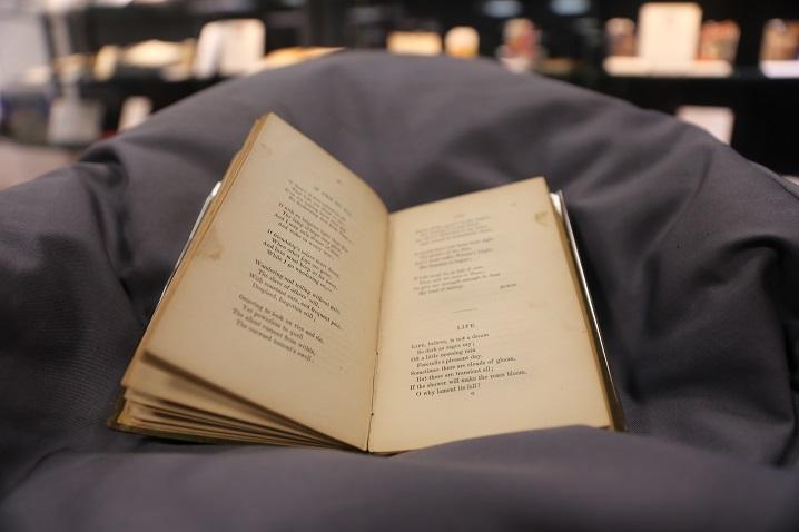 Aged book nestled on cushion