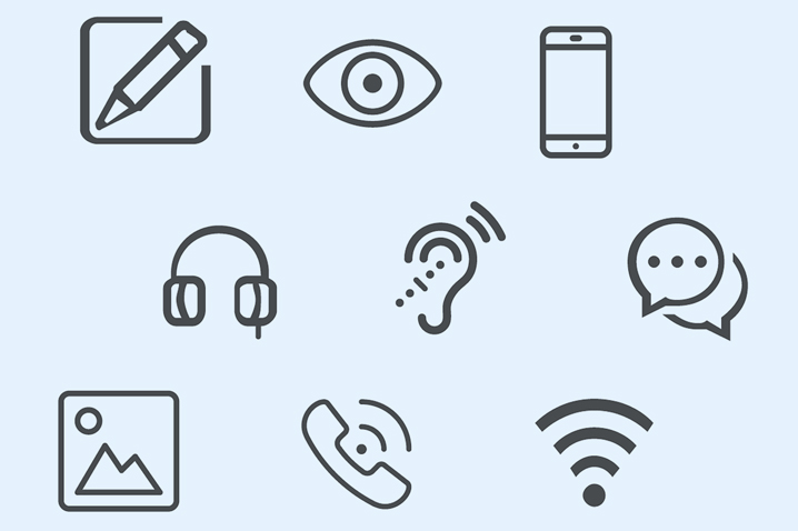 communications icons for accessibility