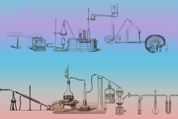 vintage sketch scientific equipment on rainbow background